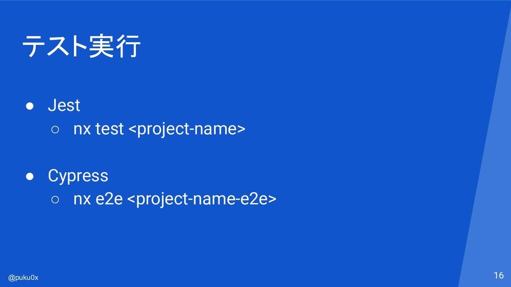 @puku0x テスト実行 ● Jest ○ nx test <project-name> ●...