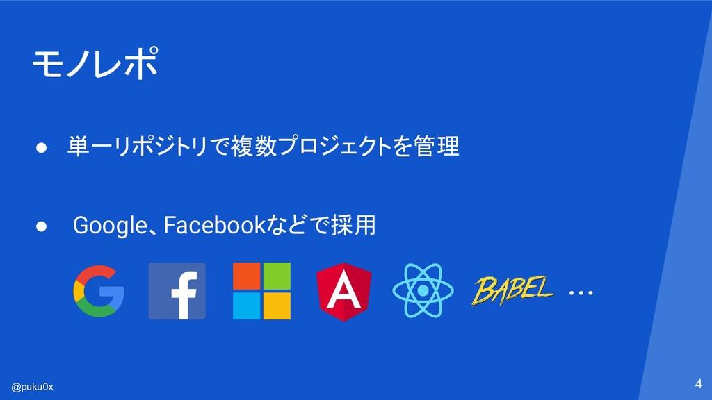 @puku0x モノレポ ● 単一リポジトリで複数プロジェクトを管理 ● Google、Fac...