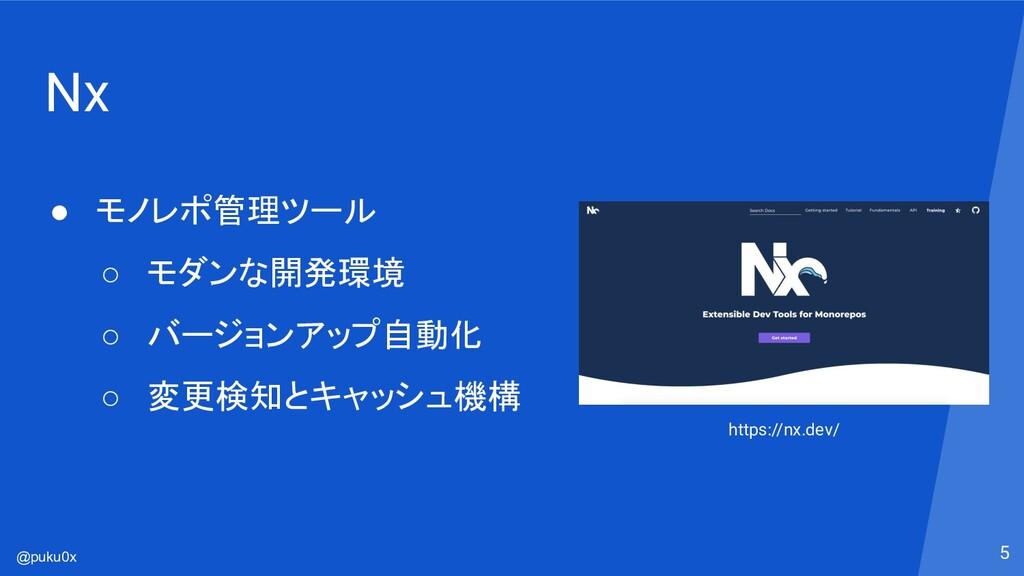 @puku0x Nx ● モノレポ管理ツール ○ モダンな開発環境 ○ バージョンアップ自動化...
