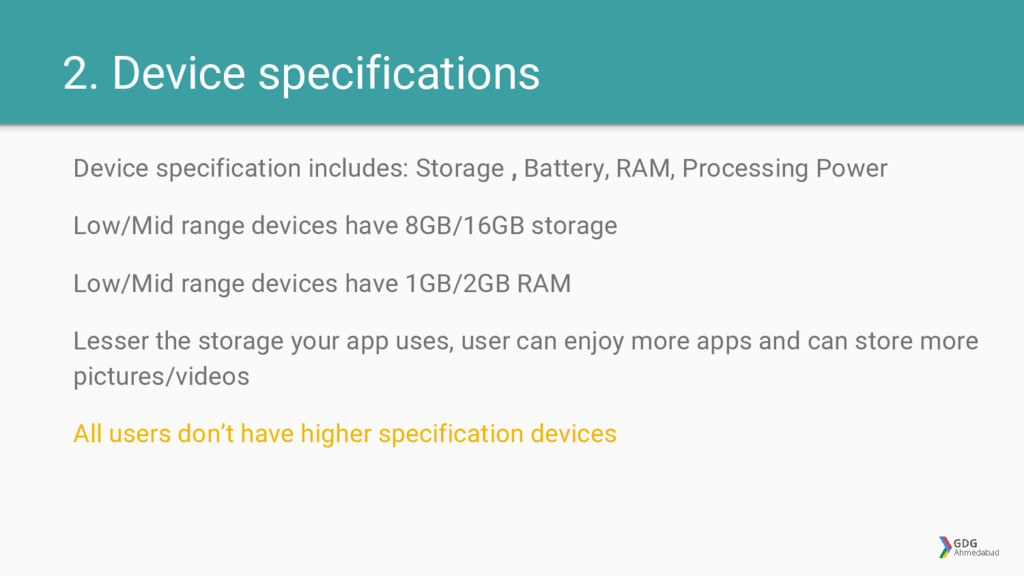 2. Device specifications Device specification i...