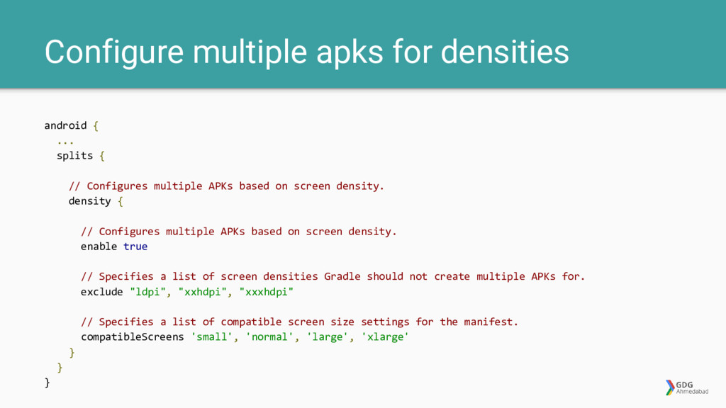 Configure multiple apks for densities android {...