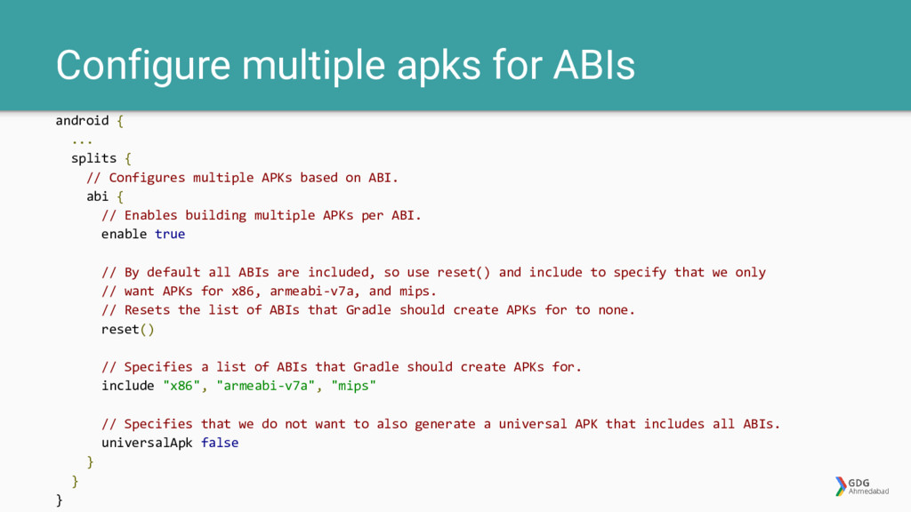 Configure multiple apks for ABIs android { ... ...