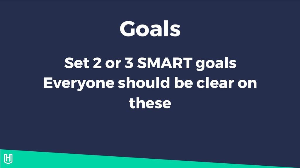 Goals Set 2 or 3 SMART goals Everyone should be...