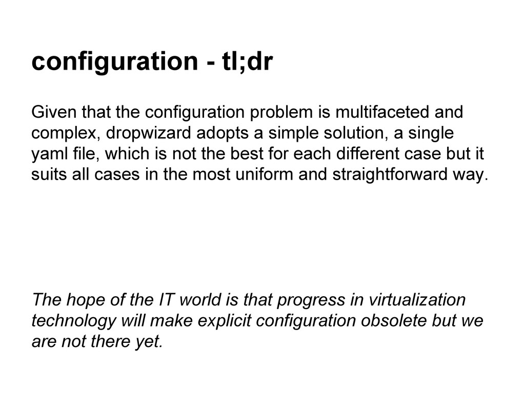 configuration - tl;dr Given that the configurat...