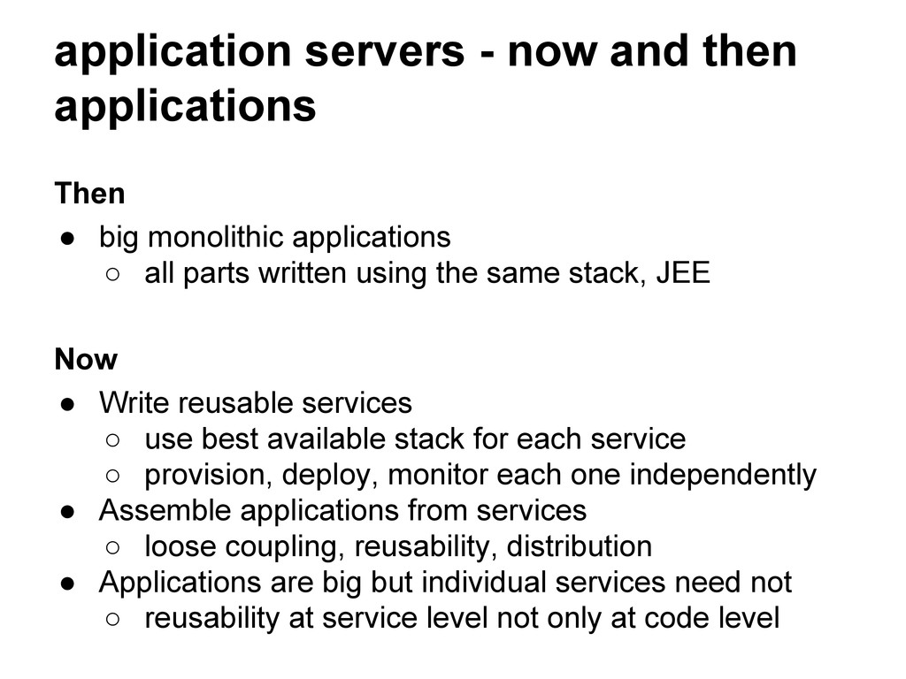 application servers - now and then applications...