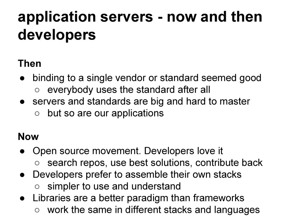 application servers - now and then developers T...