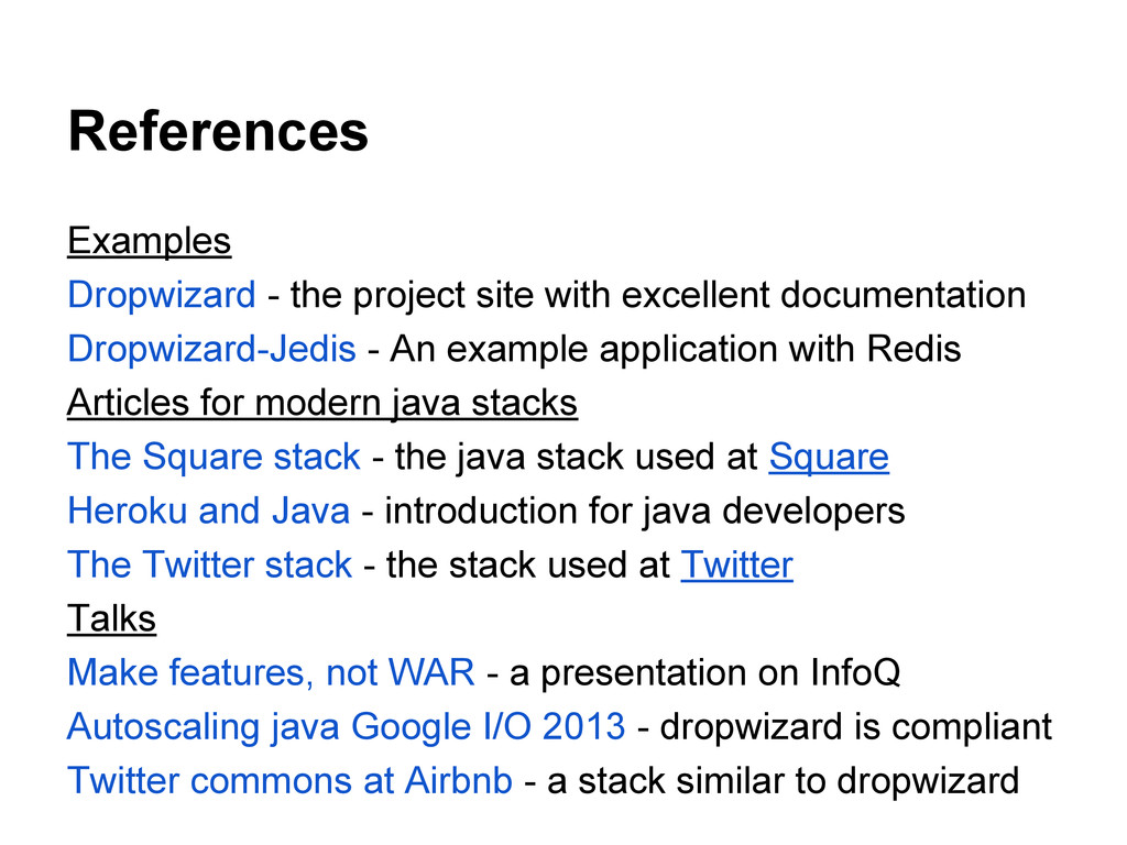References Examples Dropwizard - the project si...