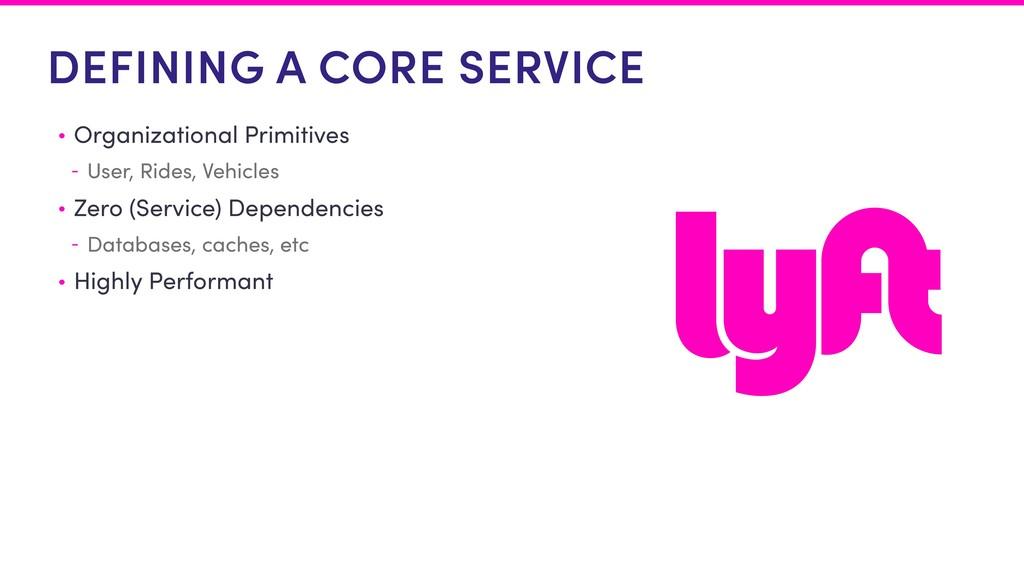 DEFINING A CORE SERVICE • Organizational Primit...