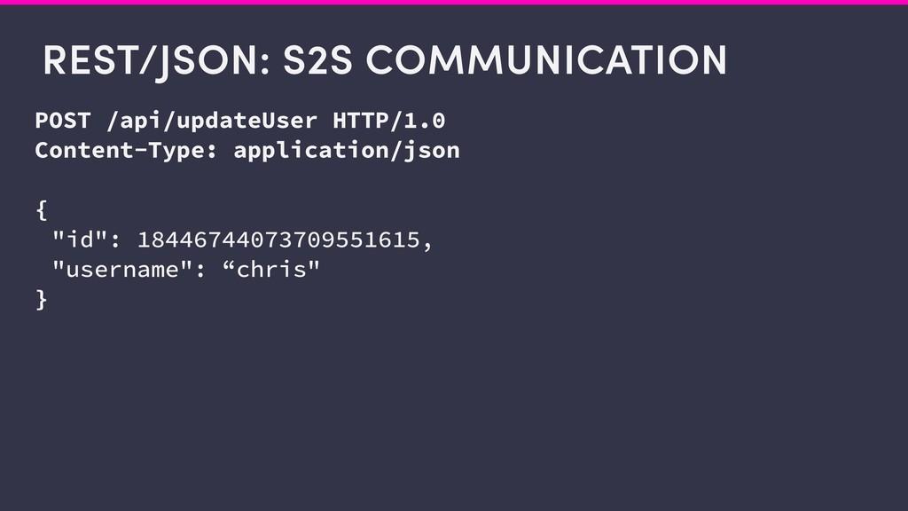 REST/JSON: S2S COMMUNICATION POST /api/updateUs...