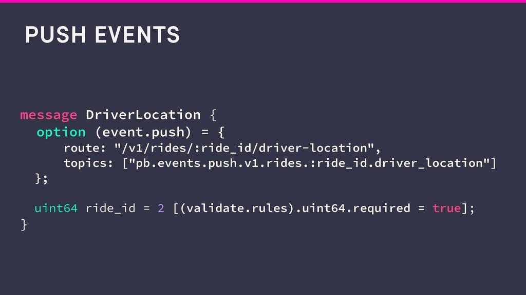 PUSH EVENTS message DriverLocation { option (ev...
