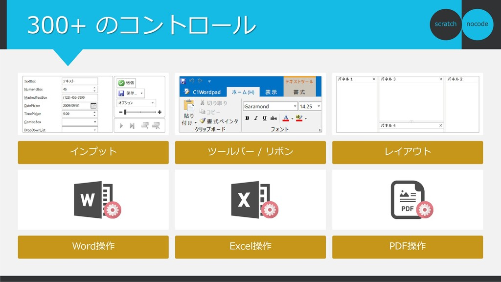 nocode scratch 300+ のコントロール Word操作 Excel操作 PDF操...