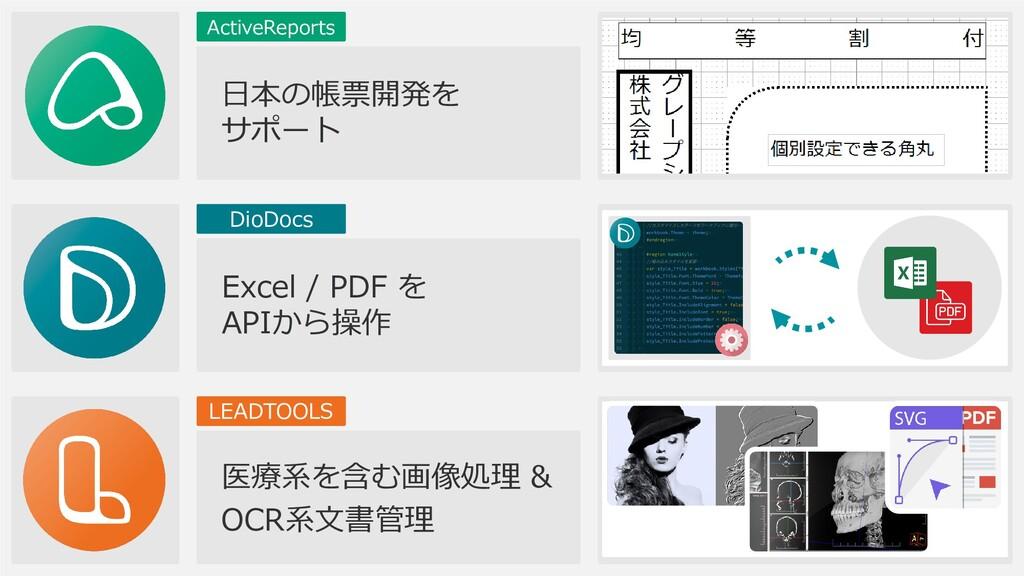 日本の帳票開発を サポート ActiveReports Excel / PDF を APIから...