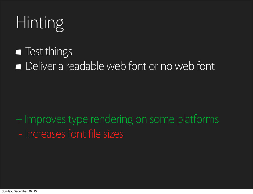 Hinting Test things + Improves type rendering o...