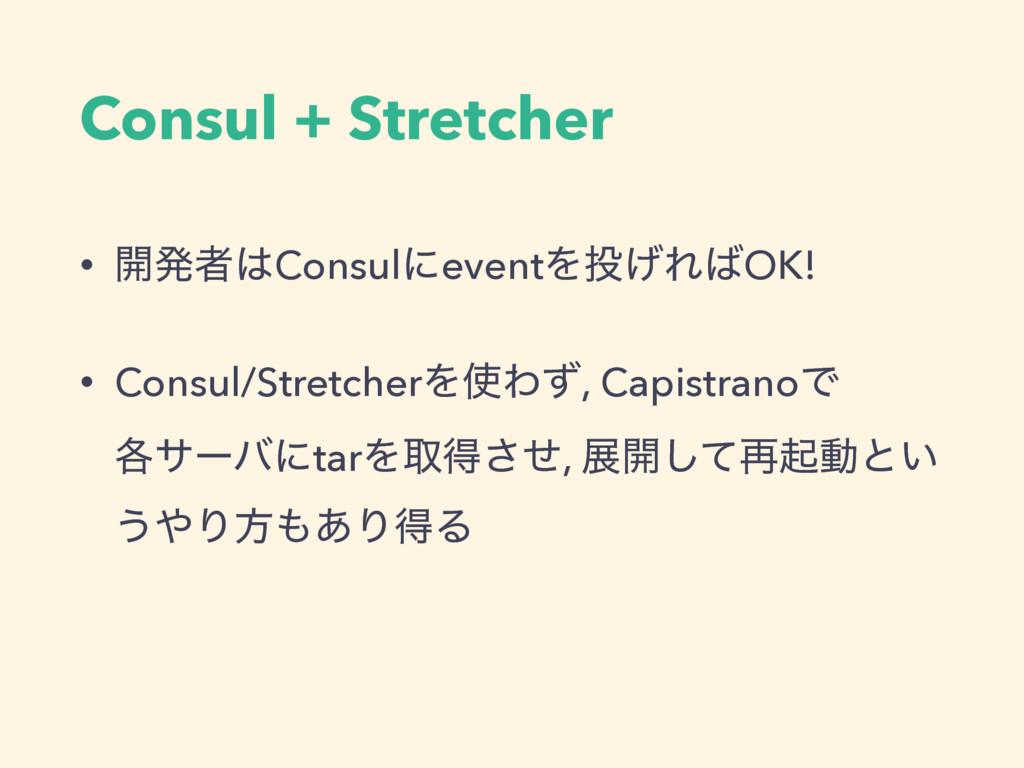 Consul + Stretcher • ։ൃऀConsulʹeventΛ͛ΕOK! •...