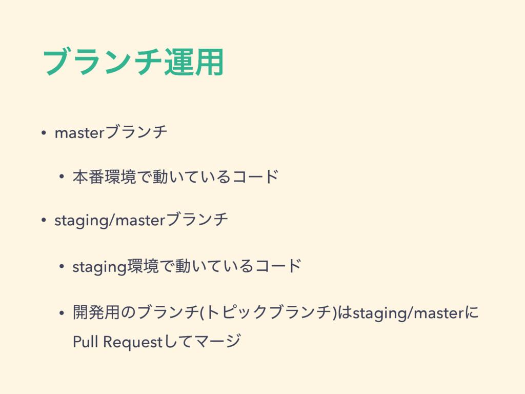 ϒϥϯνӡ༻ • masterϒϥϯν • ຊ൪ڥͰಈ͍͍ͯΔίʔυ • staging/m...