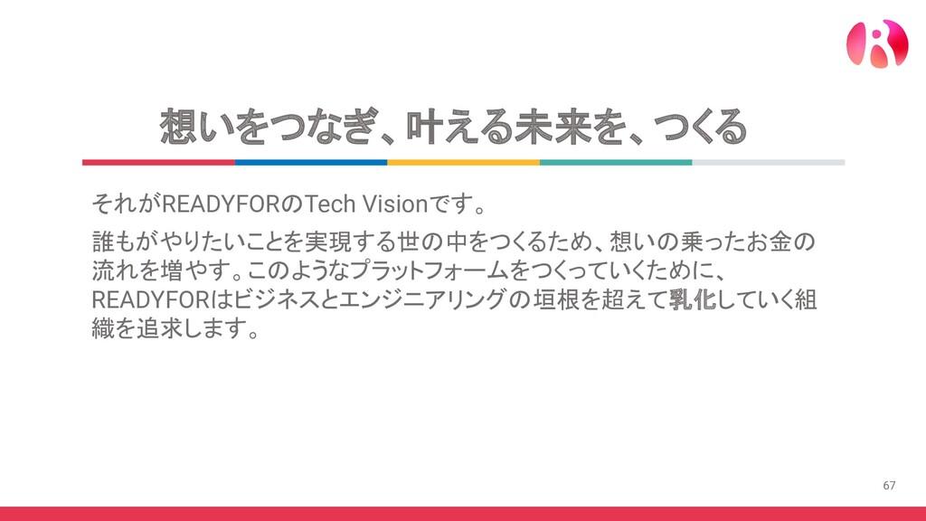 67 想いをつなぎ、叶える未来を、つくる それがREADYFORのTech Visionです。...