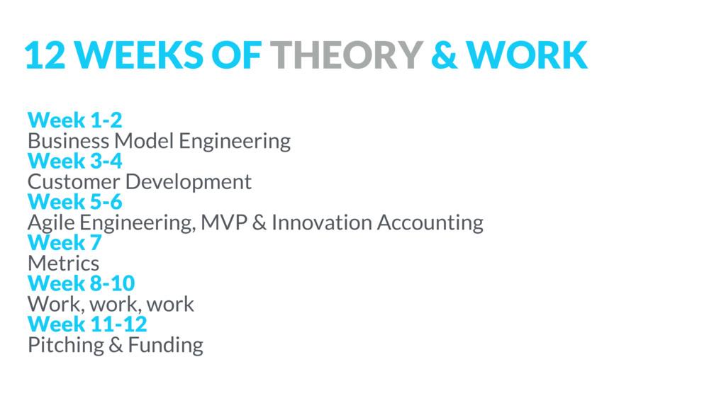 Week 1-2 Business Model Engineering Week 3-4 Cu...