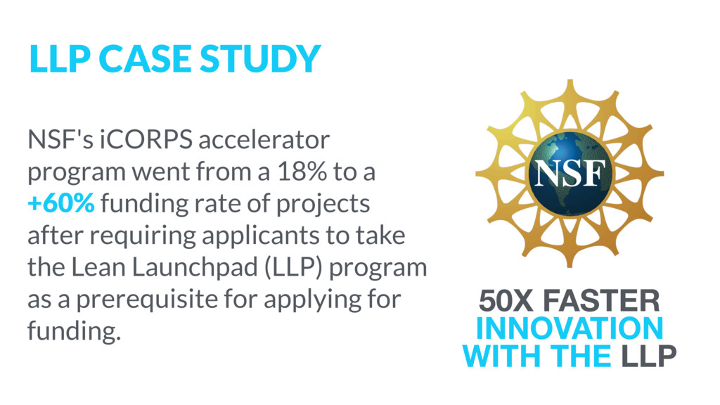 NSF's iCORPS accelerator program went from a 18...