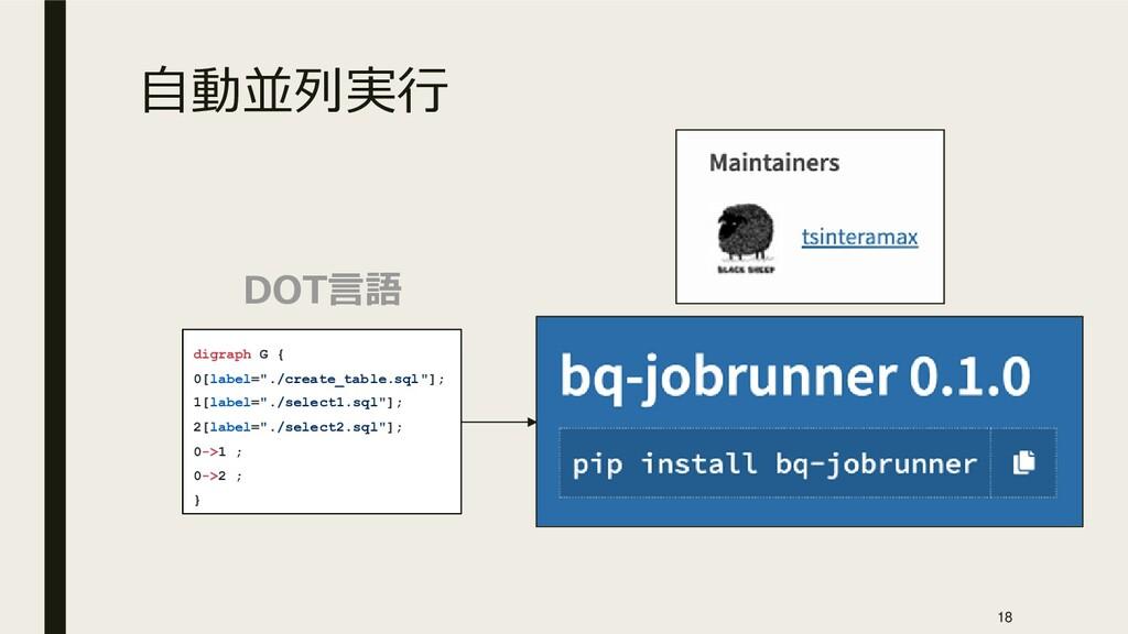 """自動並列実行 DOT言語 digraph G { 0[label=""""./create_tabl..."""