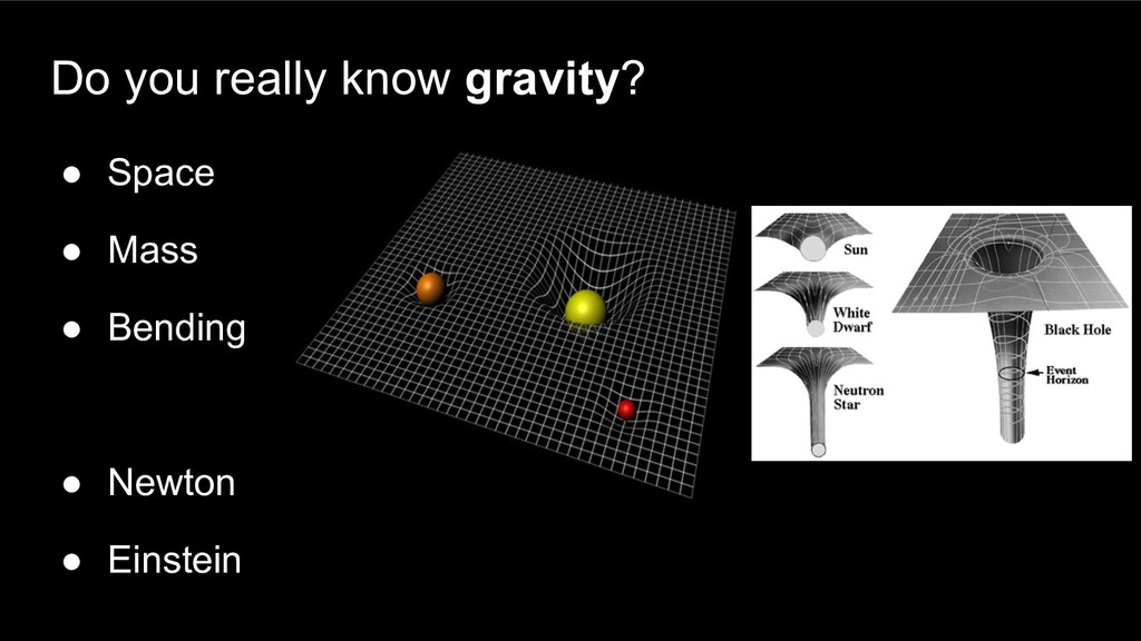 Do you really know gravity? ● Space ● Mass ● Be...