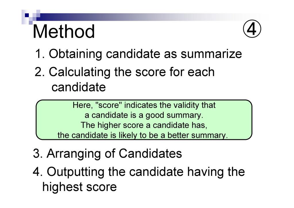 Method 1. Obtaining candidate as summarize 2. C...