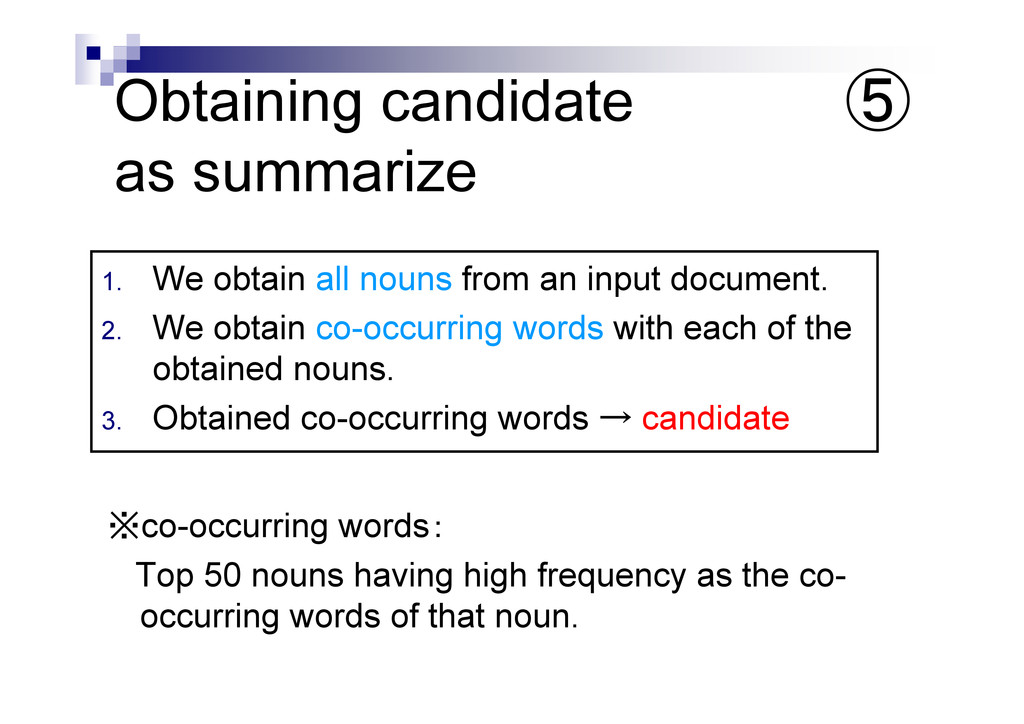 Obtaining candidate as summarize ※co-occurring ...