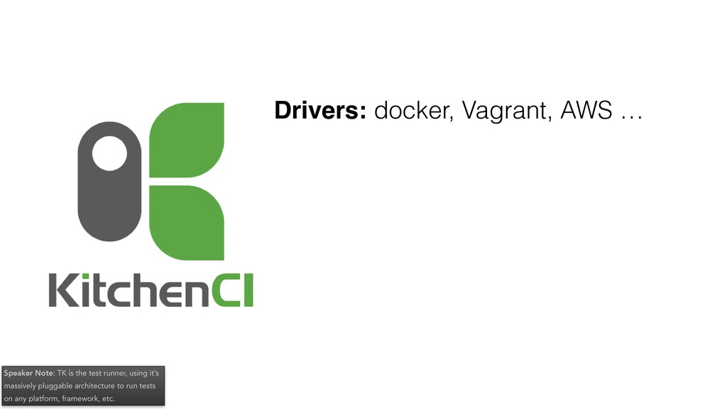 Drivers: docker, Vagrant, AWS … Speaker Note: T...