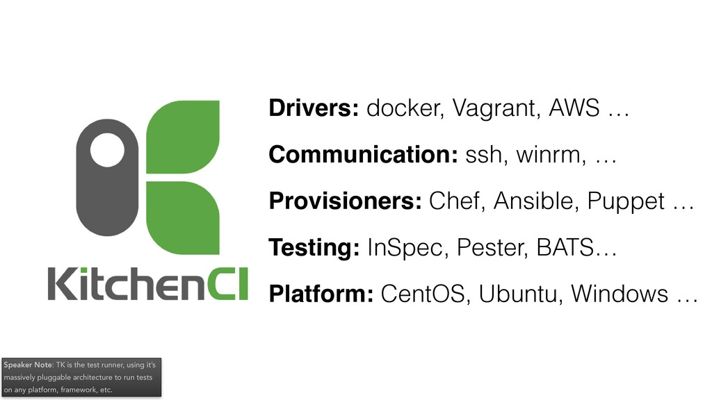 Drivers: docker, Vagrant, AWS … Communication: ...