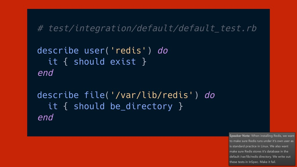 Speaker Note: When installing Redis, we want to...