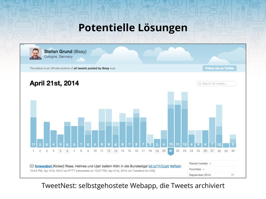 Potentielle Lösungen TweetNest: selbstgehostete...