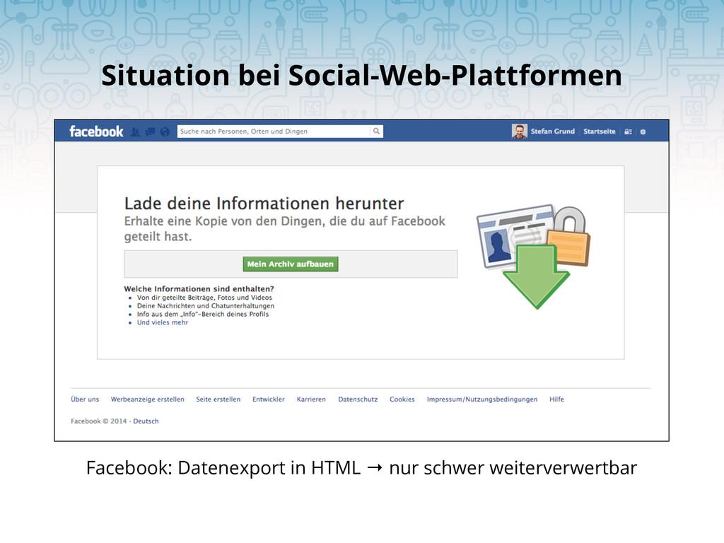 Situation bei Social-Web-Plattformen Facebook: ...