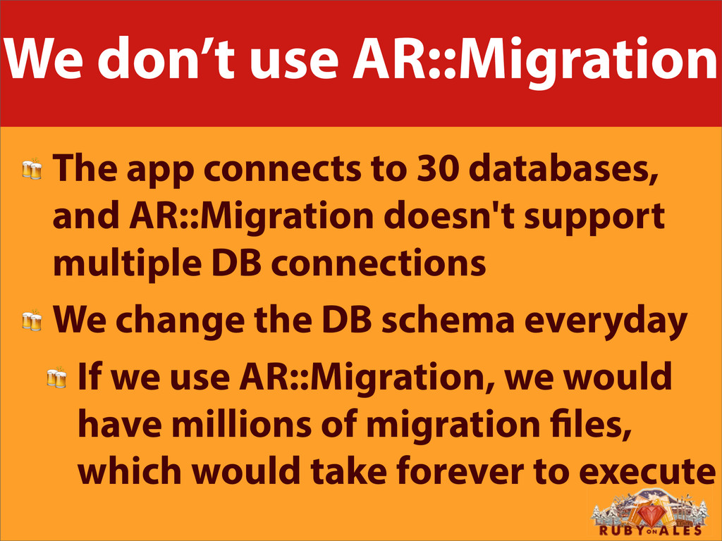 We don't use AR::Migration  The app connects to...