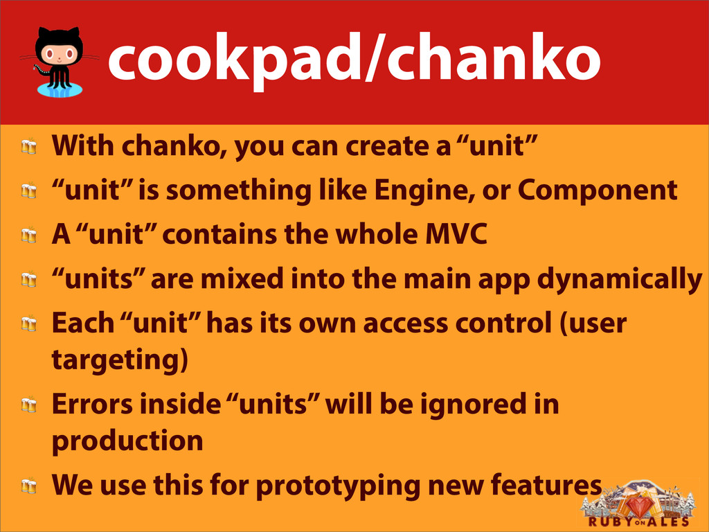 """cookpad/chanko  With chanko, you can create a """"..."""