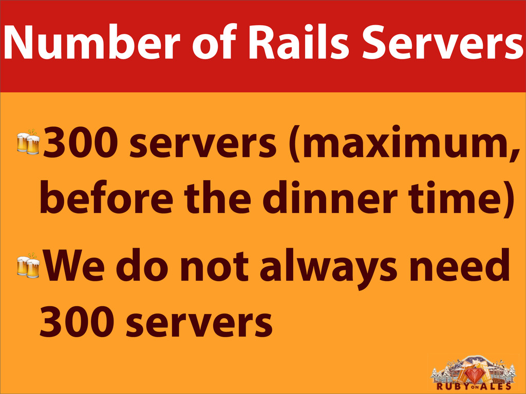 Number of Rails Servers 300 servers (maximum, b...