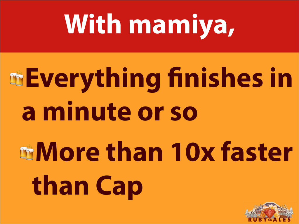 With mamiya, Everything nishes in a minute or s...