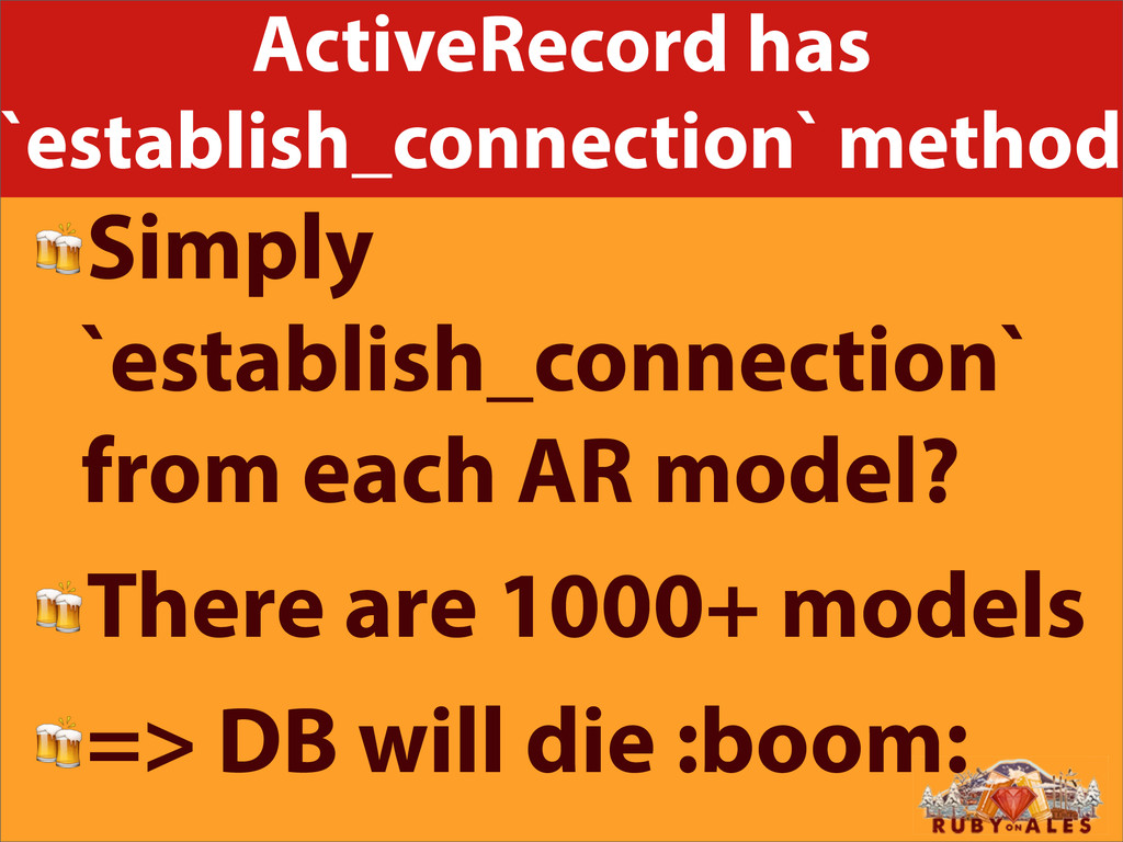 ActiveRecord has `establish_connection` method ...