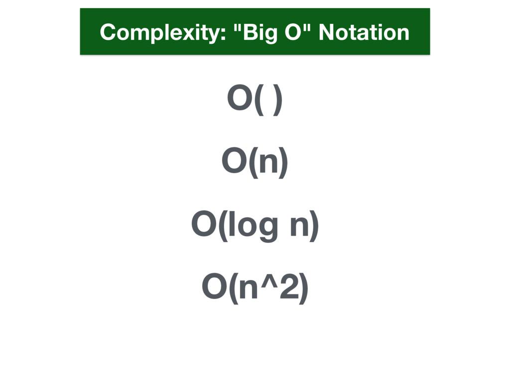 """O( ) O(n) O(log n) O(n^2) Complexity: """"Big O"""" N..."""