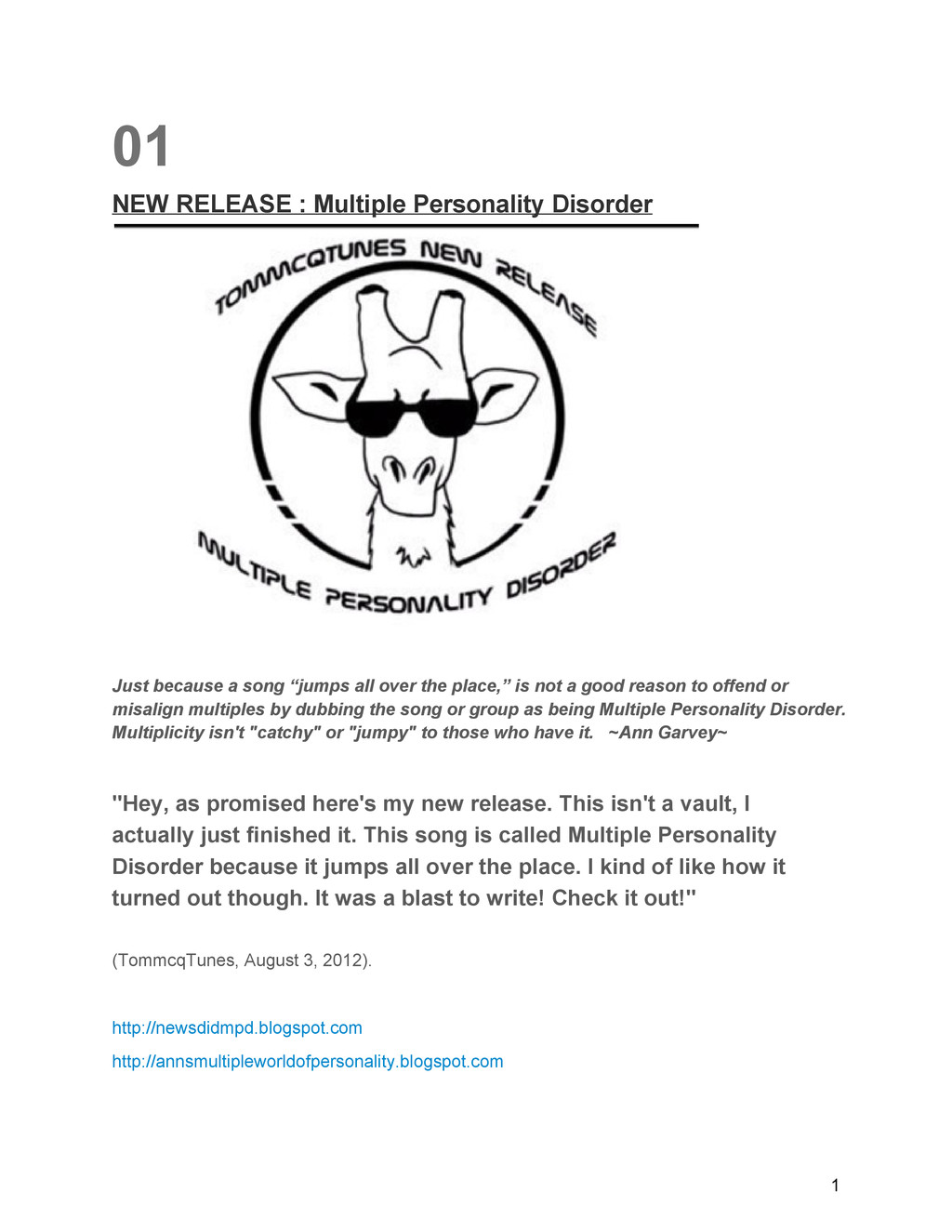 01 NEW RELEASE : Multiple Personality Disorder ...