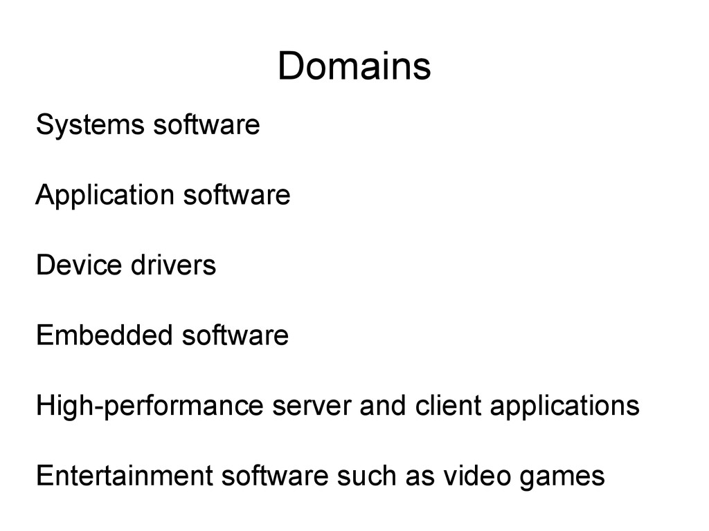Domains Systems software Application software D...