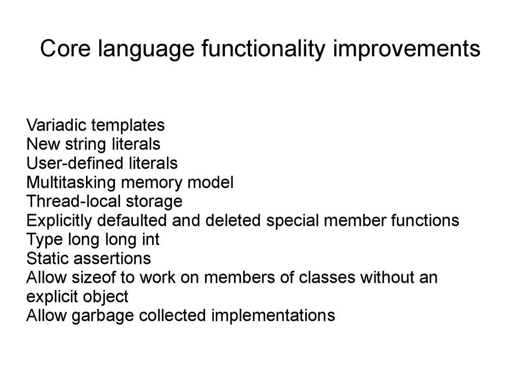 Core language functionality improvements Variad...