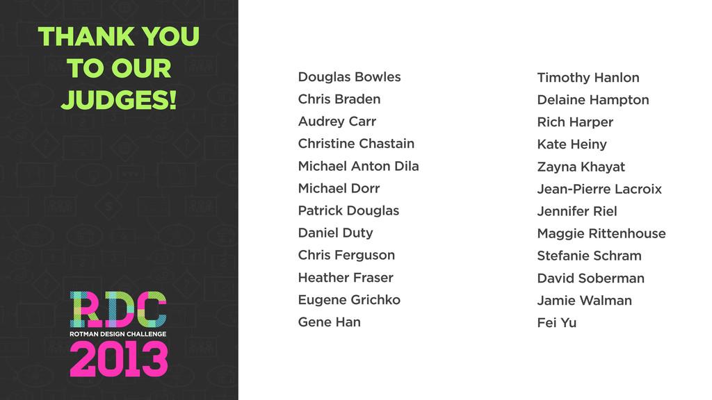THANK YOU TO OUR JUDGES! Douglas Bowles Chris B...