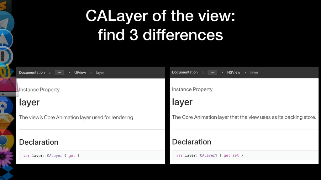 CALayer of the view: find 3 differences