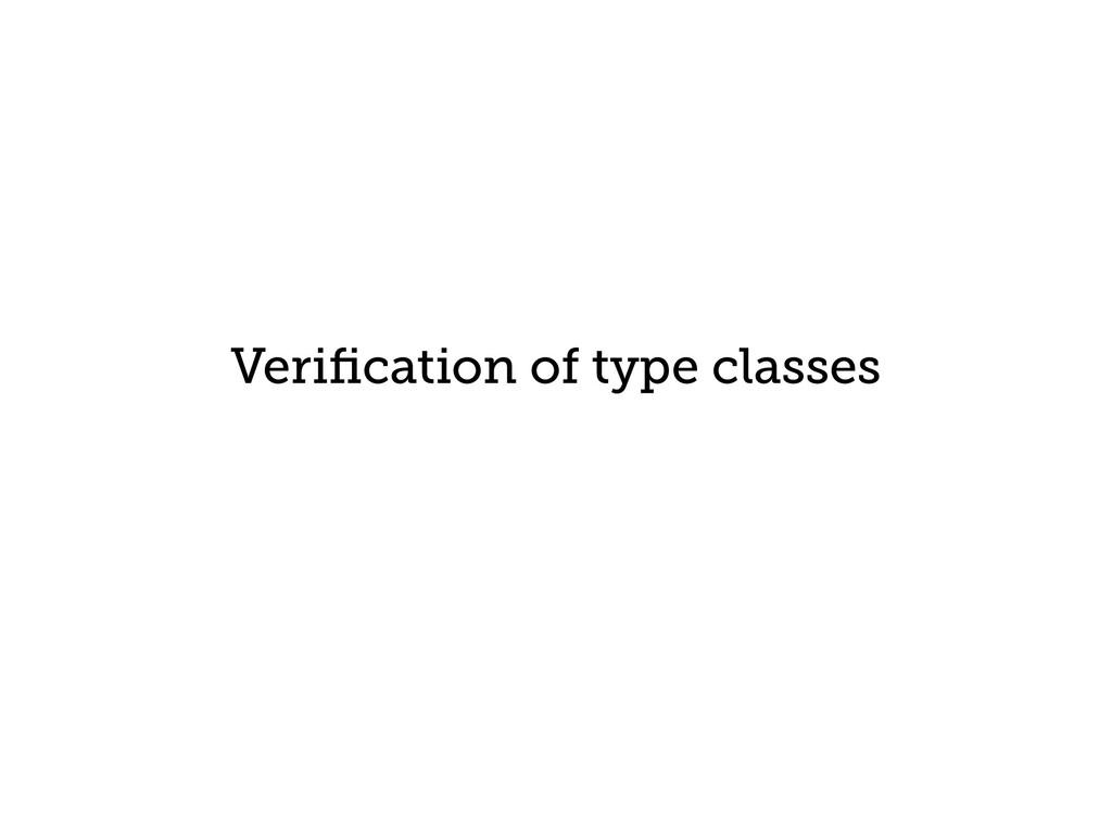 Verification of type classes