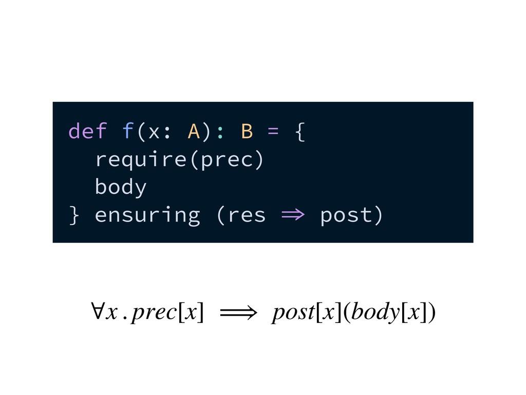 def f(x: A): B = { require(prec) body } ensurin...