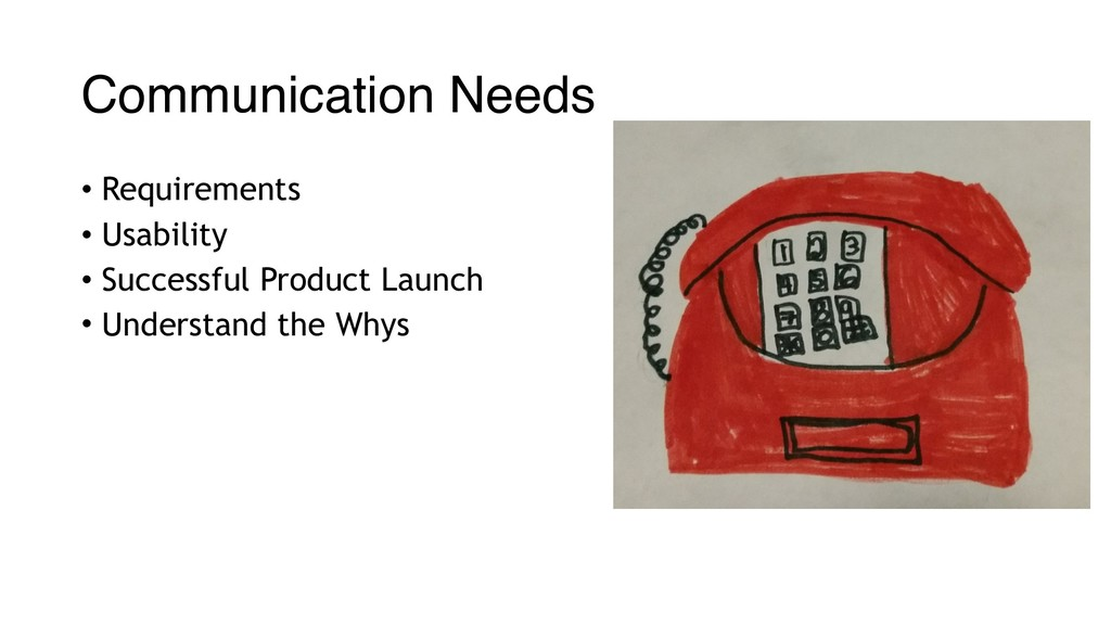 Communication Needs • Requirements • Usability ...