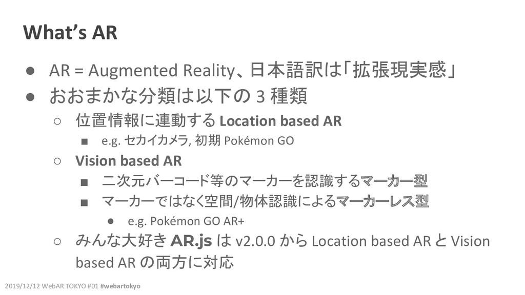 2019/12/12 WebAR TOKYO #01 #webartokyo What's A...