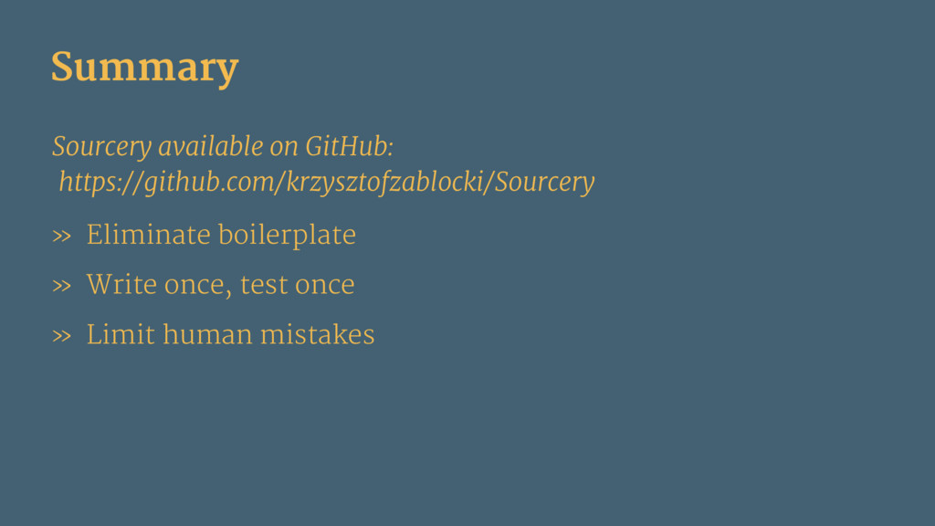 Summary Sourcery available on GitHub: https://g...