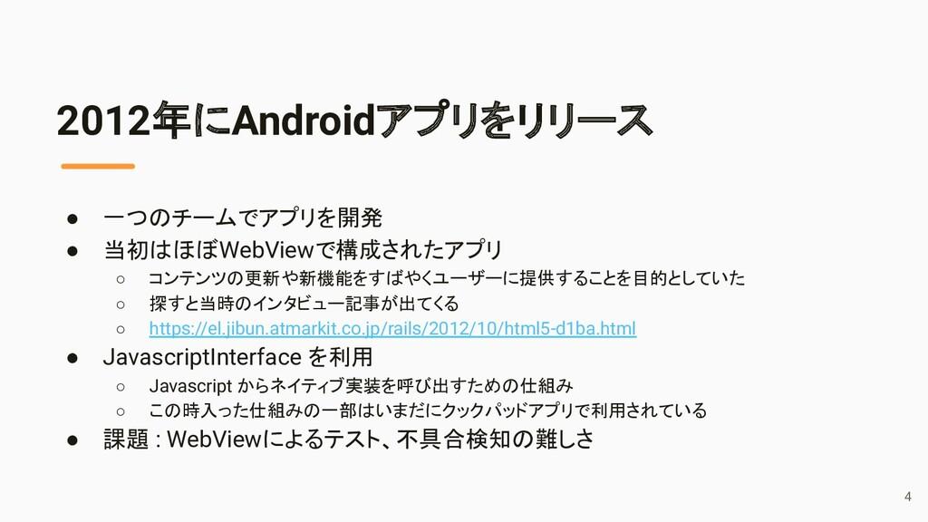 2012年にAndroidアプリをリリース ● 一つのチームでアプリを開発 ● 当初はほぼWe...