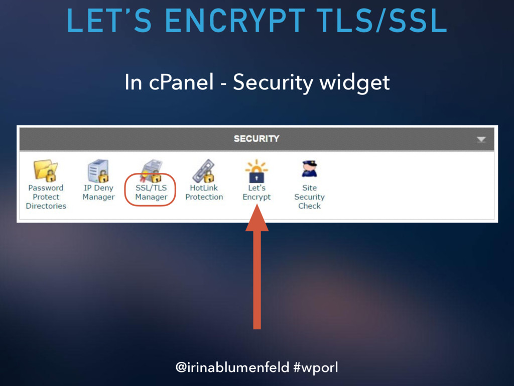 LET'S ENCRYPT TLS/SSL In cPanel - Security widg...
