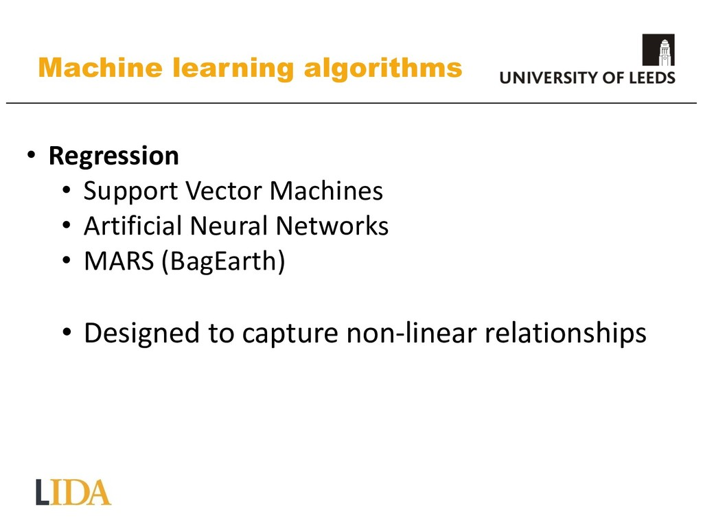 Machine learning algorithms • Regression • Supp...